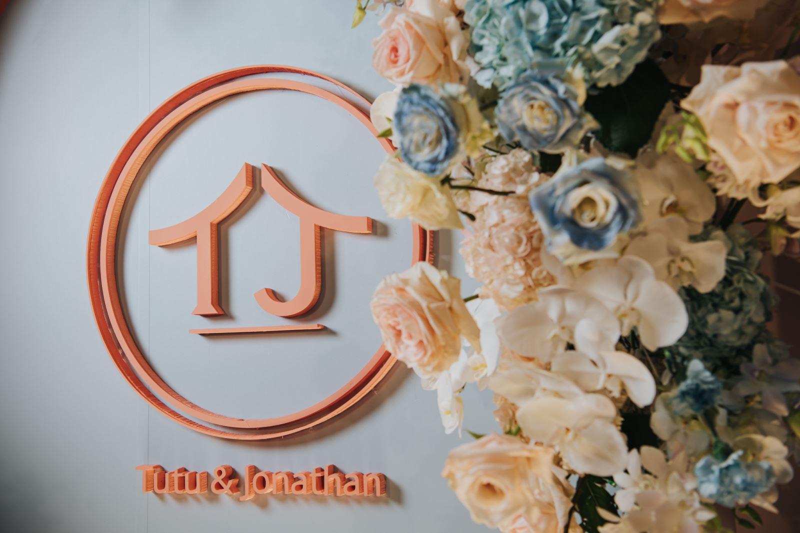 以新人的英文名字作為主題的婚禮logo