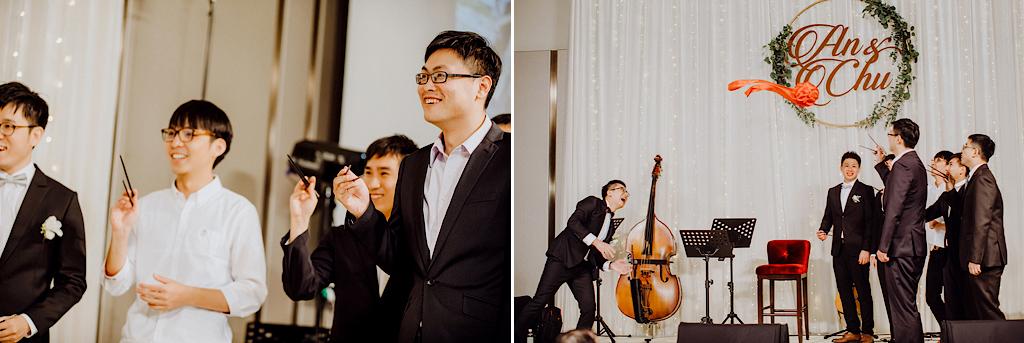 婚禮上,單身男生的捧花活動